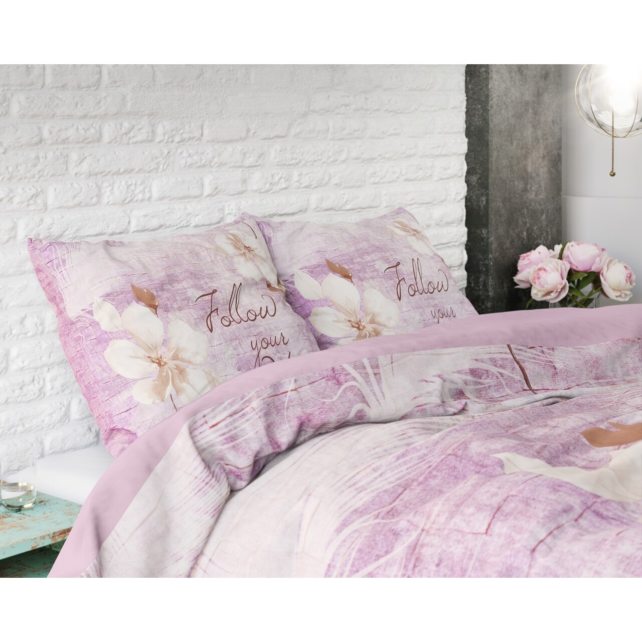 Lenjerie de pat dubla Blossom 2 Purple, Royal Textile,3 piese, 200 x 220 cm, 100% bumbac, multicolora