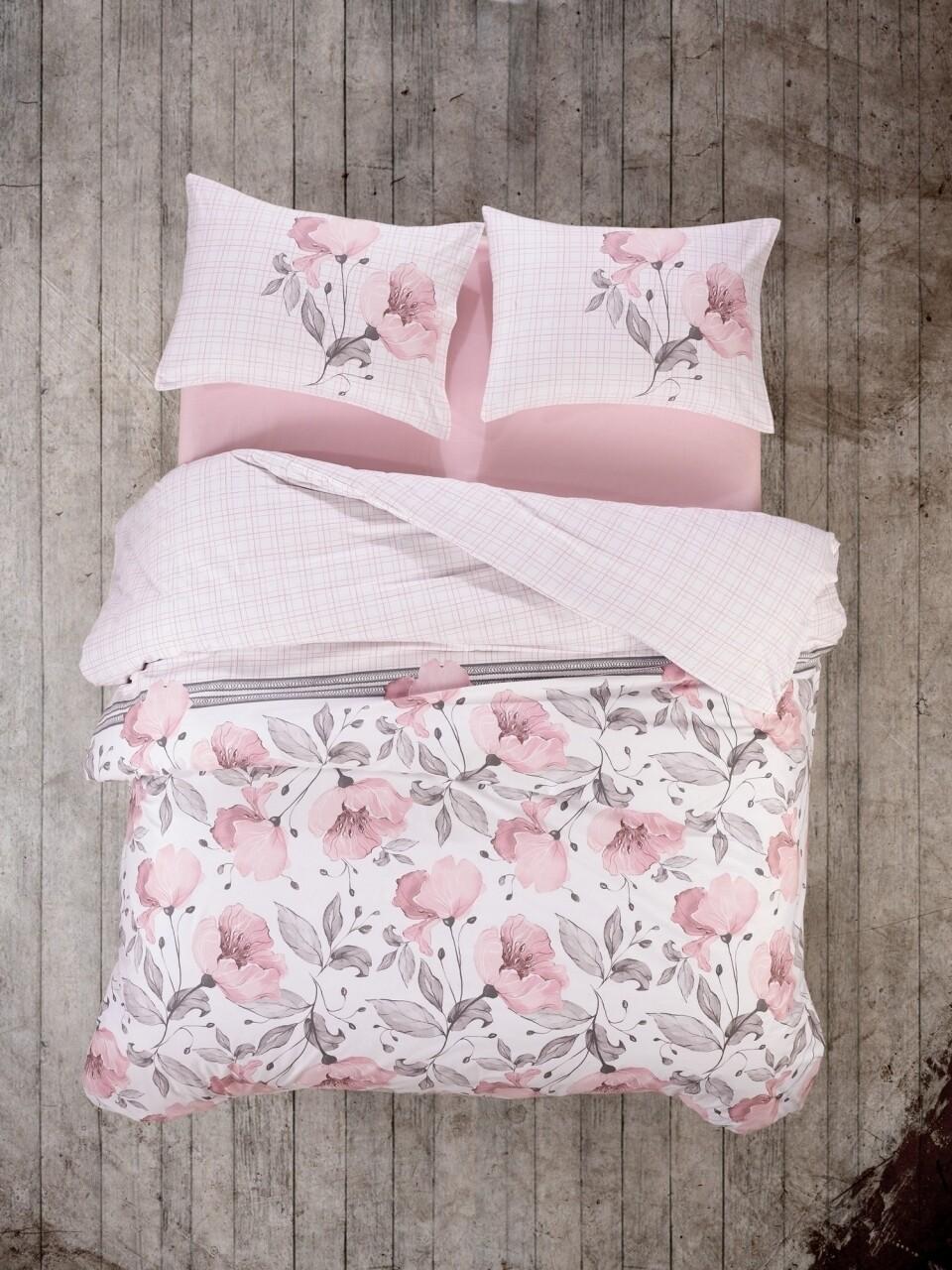 Lenjerie de pat pentru o persoana, 3 piese, 100% bumbac ranforce, Cotton Box, Juana