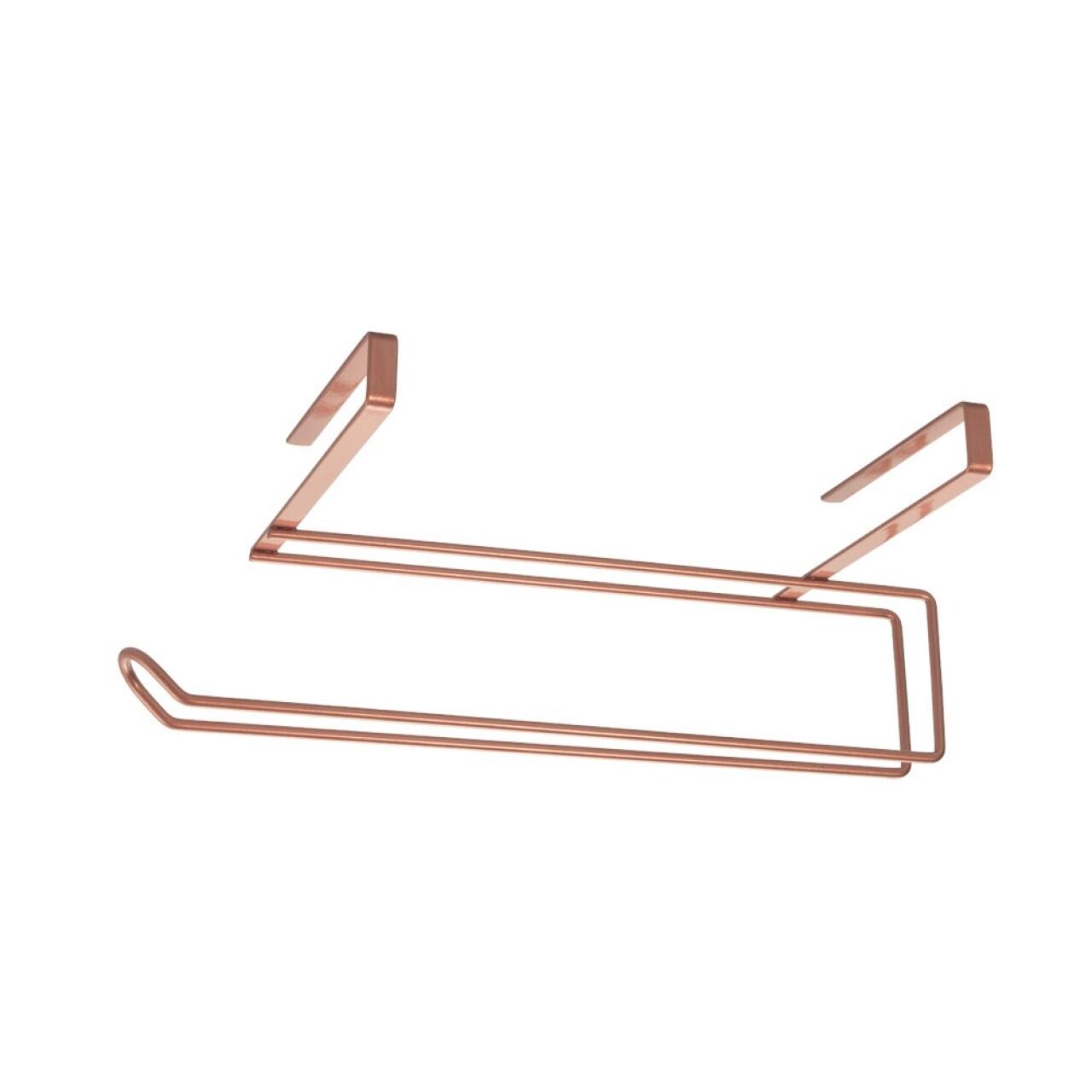 Suport prosoape pentru dulap Undershelf Copper, Metaltex,  10 x 18 x 35 cm,  inox/invelis Polytherm, cupru