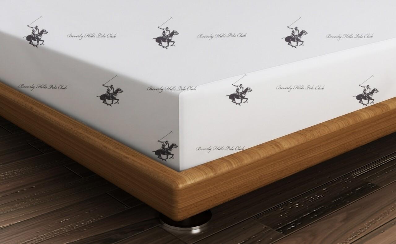 Cearceaf de pat dublu BHPC 004 - Lilac, 240x260 cm, 100% bumbac ranforce, Beverly Hills Polo Club, alb/lila
