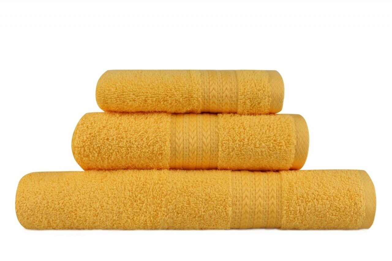 Set 3 prosoape de baie, 100% bumbac, Hobby, Dark Yellow