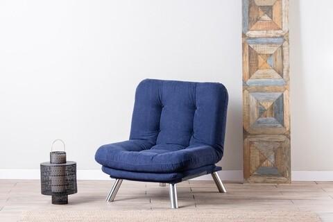Fotoliu extensibil Misa Solo, Futon, 135x88 cm, metal, bleumarin
