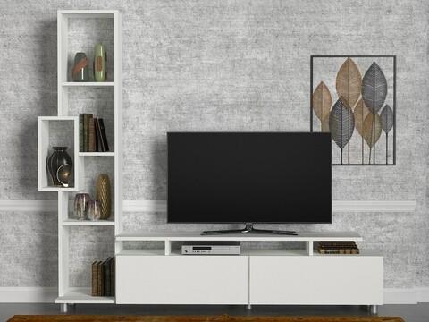 Comoda TV cu raft Tulip, Woody Fashion, alb