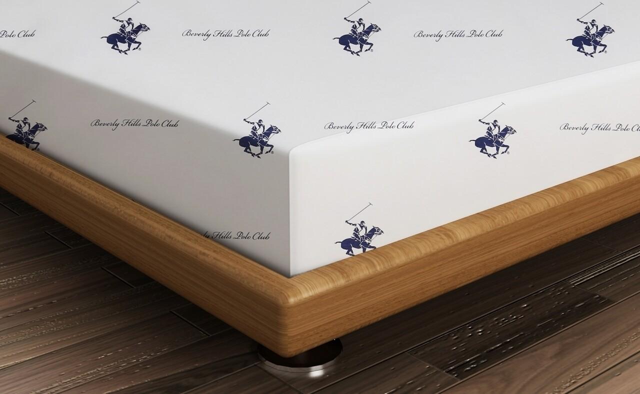 Cearceaf de pat dublu, 240x260 cm, 100% bumbac ranforce, Beverly Hills Polo Club, Red/White