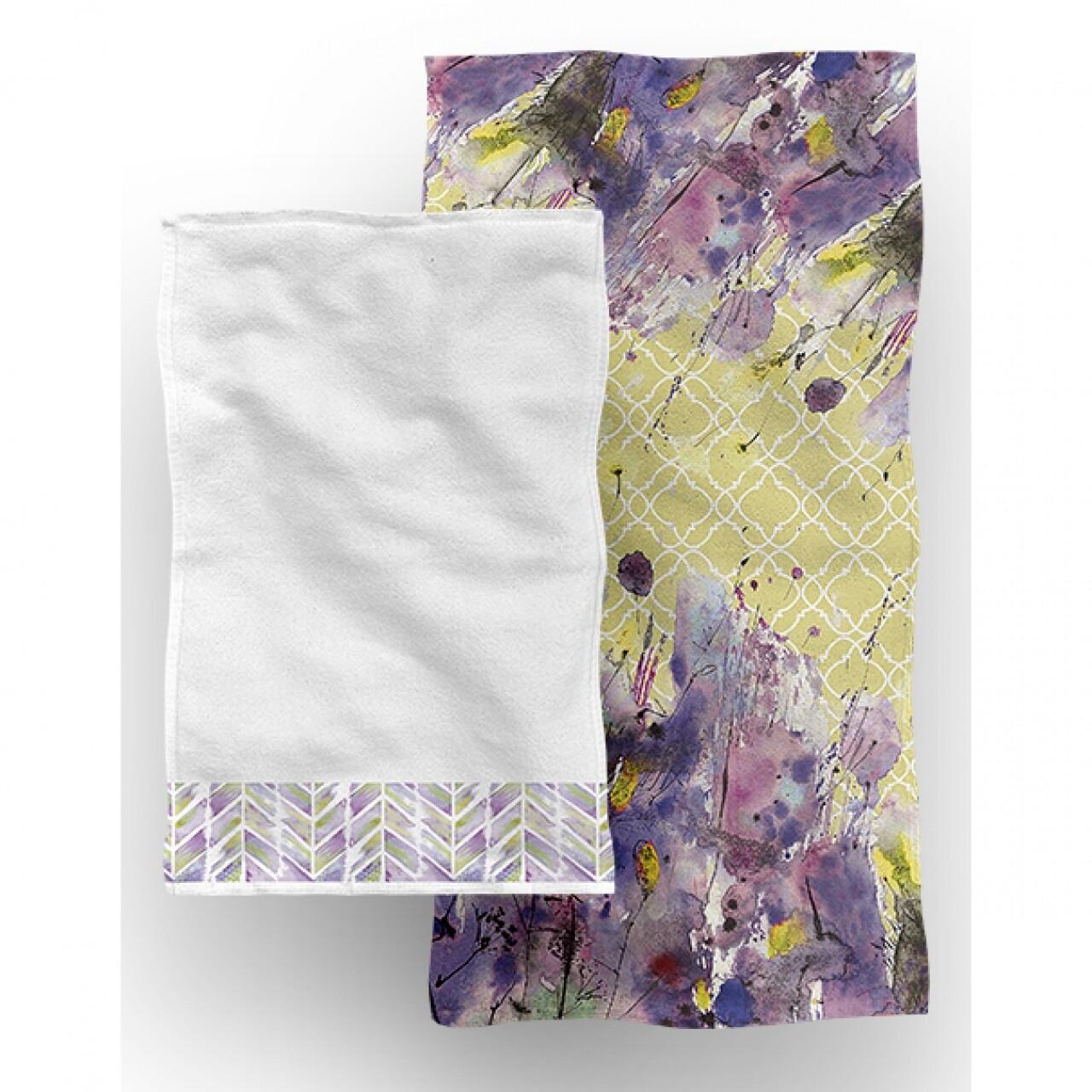 Set 2 prosoape de baie Flora, Aglika, 50 x 100 cm/ 50 x 30 cm, 70% bumbac, 30% microfibra, multicolor