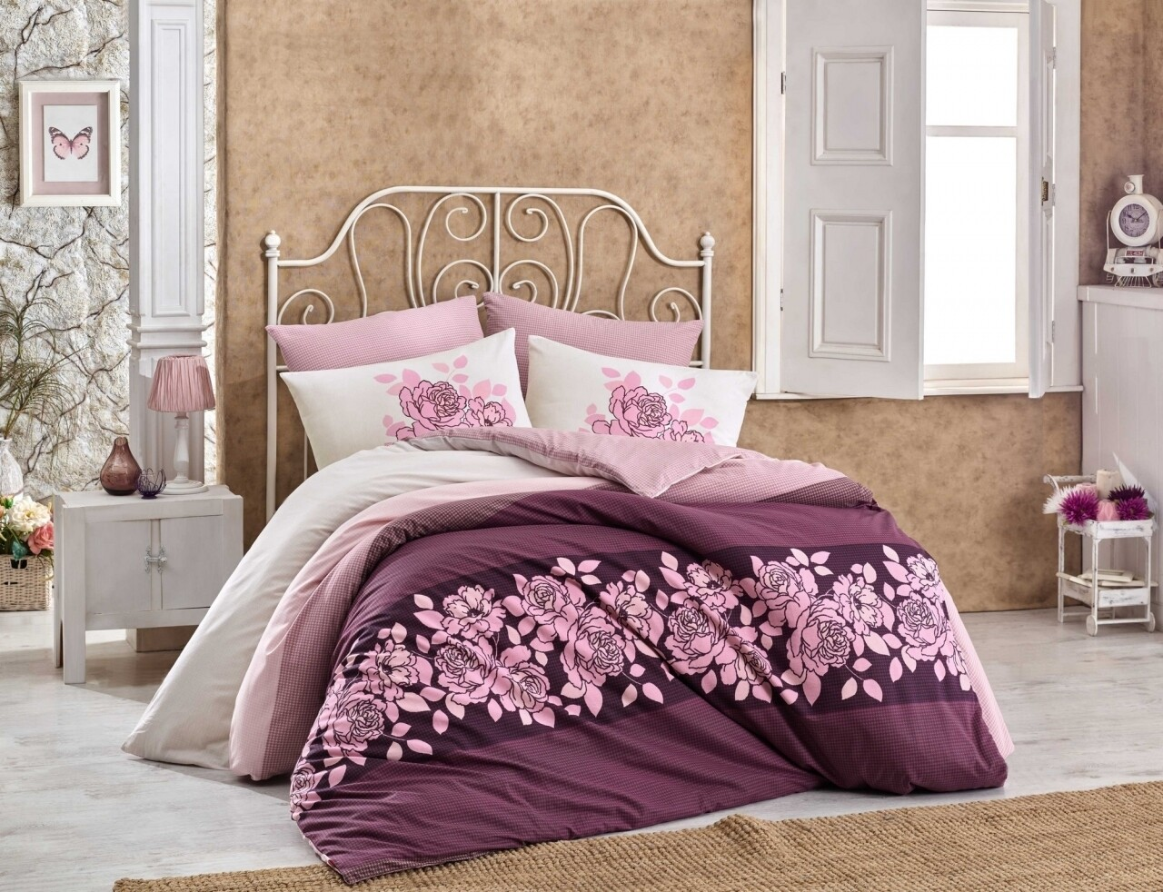 Lenjerie de pat pentru o persoana, 3 piese, 100% bumbac ranforce, Hobby, Martina Garnet, alb/roz