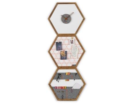 Set ceas de perete, panou memo si organizator de perete Rafevi Tuva, 60 x 52 cm, portocaliu