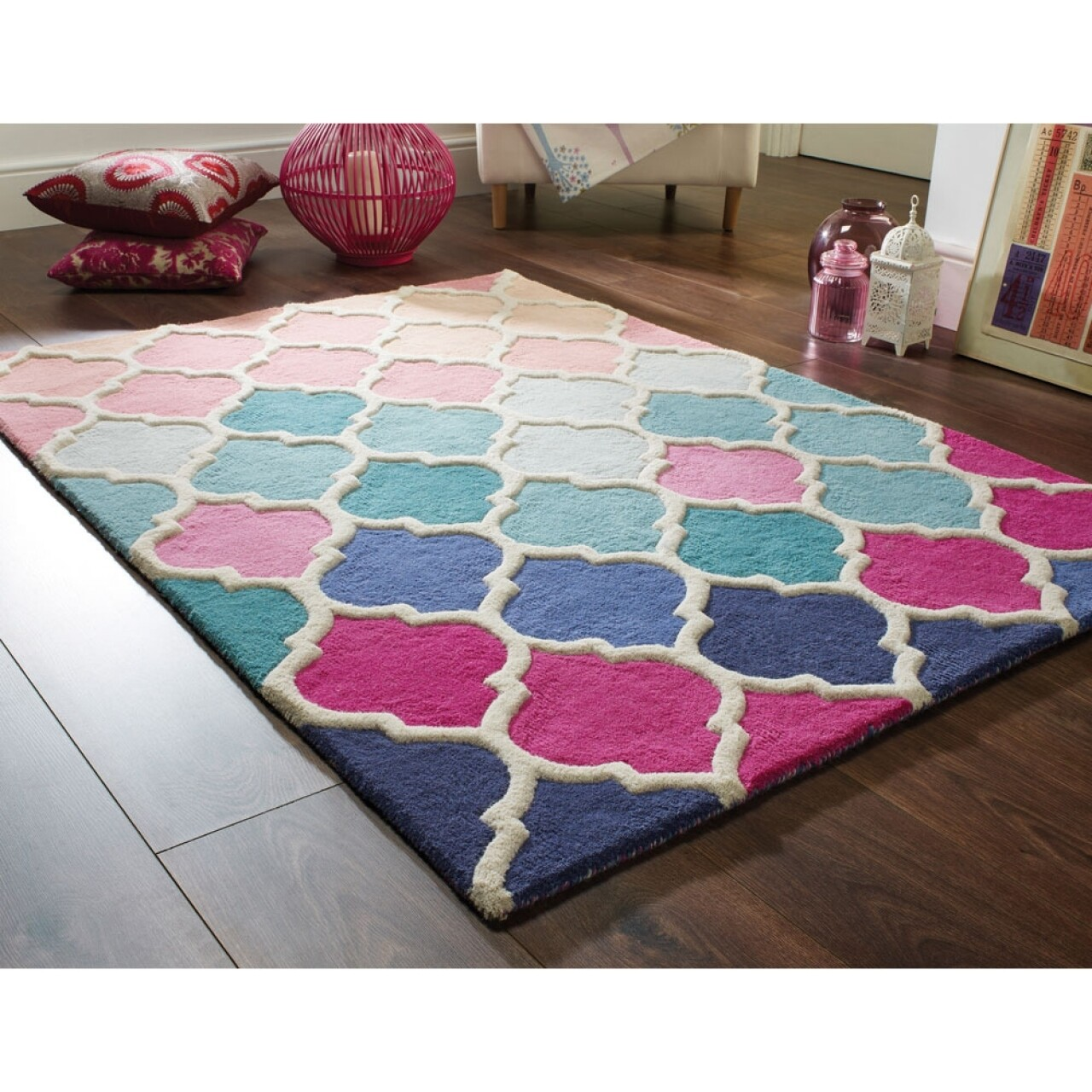 Covor Illusion Rosella Pink/Blue, Flair Rugs, 120 x 170 cm, 100% lana, multicolor
