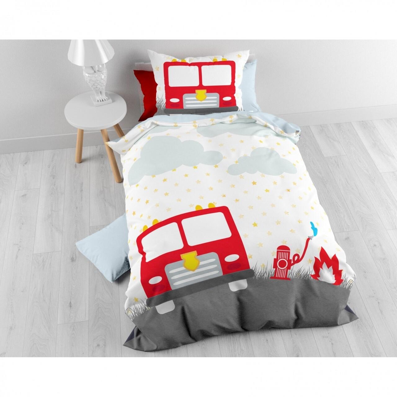 Lenjerie de pat pentru o persoana, Small Fireman White, Royal Textile, 2 piese, 140 x 200 cm, 100% bumbac, multicolora