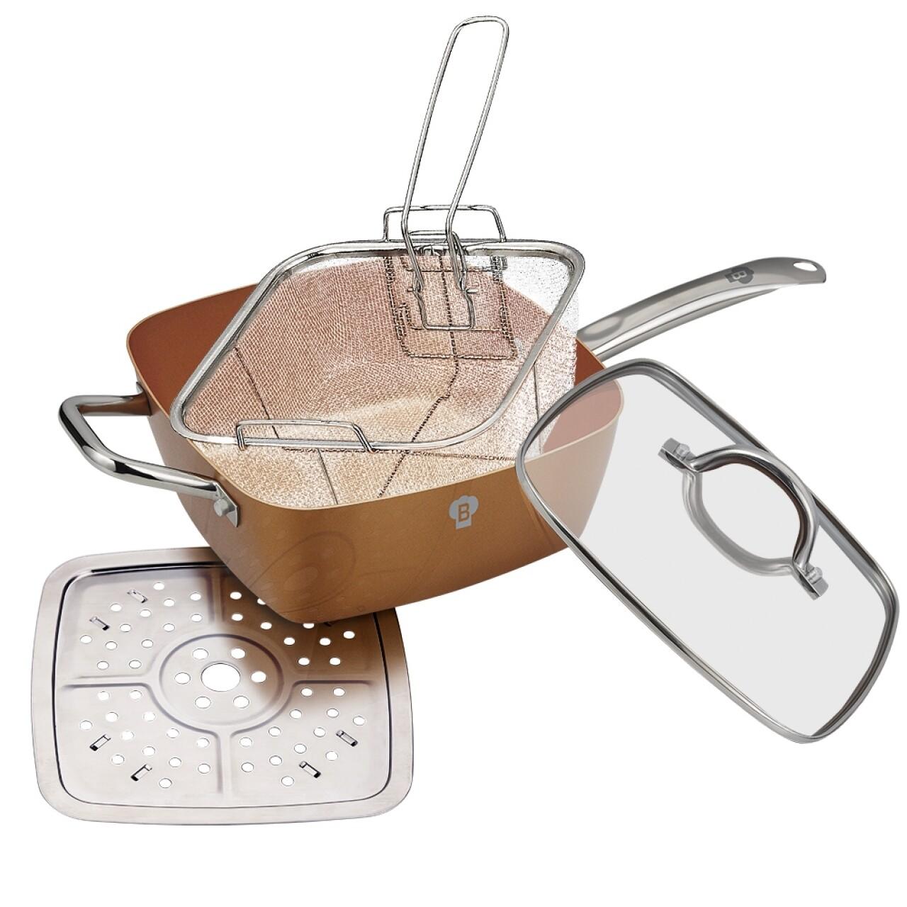 Tigaie patrata multifunctionala cu capac, Blaumann, Chef, 24x24 cm