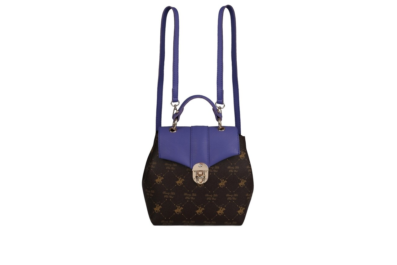 Rucsac Beverly Hills Polo Club, 622, piele ecologica, maro/mov