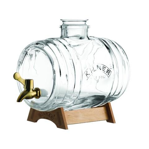 Dispenser pentru bauturi in forma de butoias, Kilner, Party II, 3.5 L, sticla, transparent