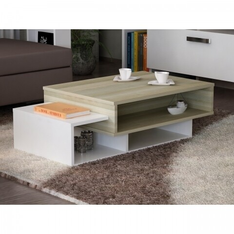 Masuta pentru living, Wooden Art, Tab White Cordoba, 105x32x60 cm
