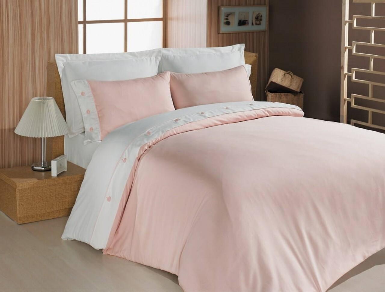 Lenjerie de pat dubla, 6 piese, 240x260 cm, 100% bumbac satinat, Cotton Box, Pink