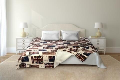 Patura fleece cu blanita 200x220 cm, 100% poliester, UK, multicolora