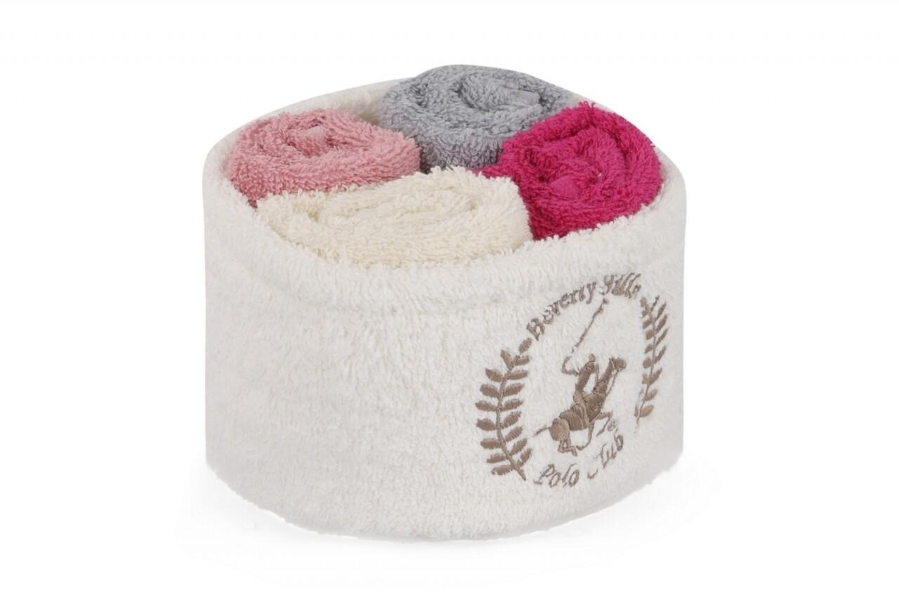 Set 4 prosoape de baie cu cos, Beverly Hills Polo Club, 30x30 cm,  100% bumbac, alb/roz/gri/ciclam