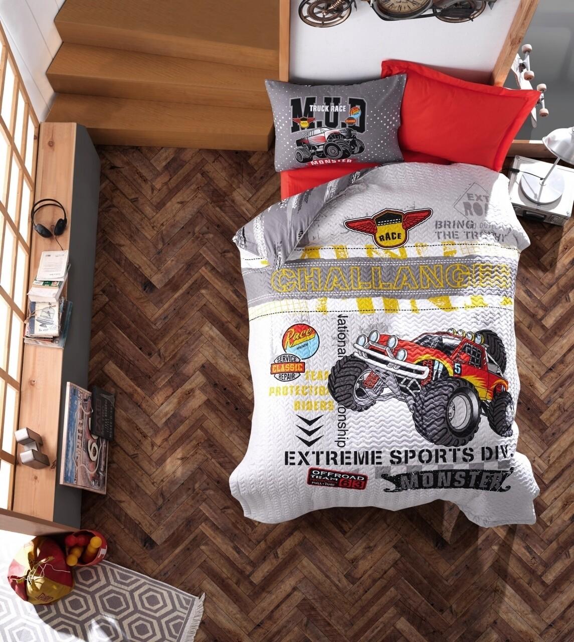 Lenjerie de pat matlasata pentru o persoana Young, 3 piese, 100% bumbac ranforce, Cotton Box, Monster Red