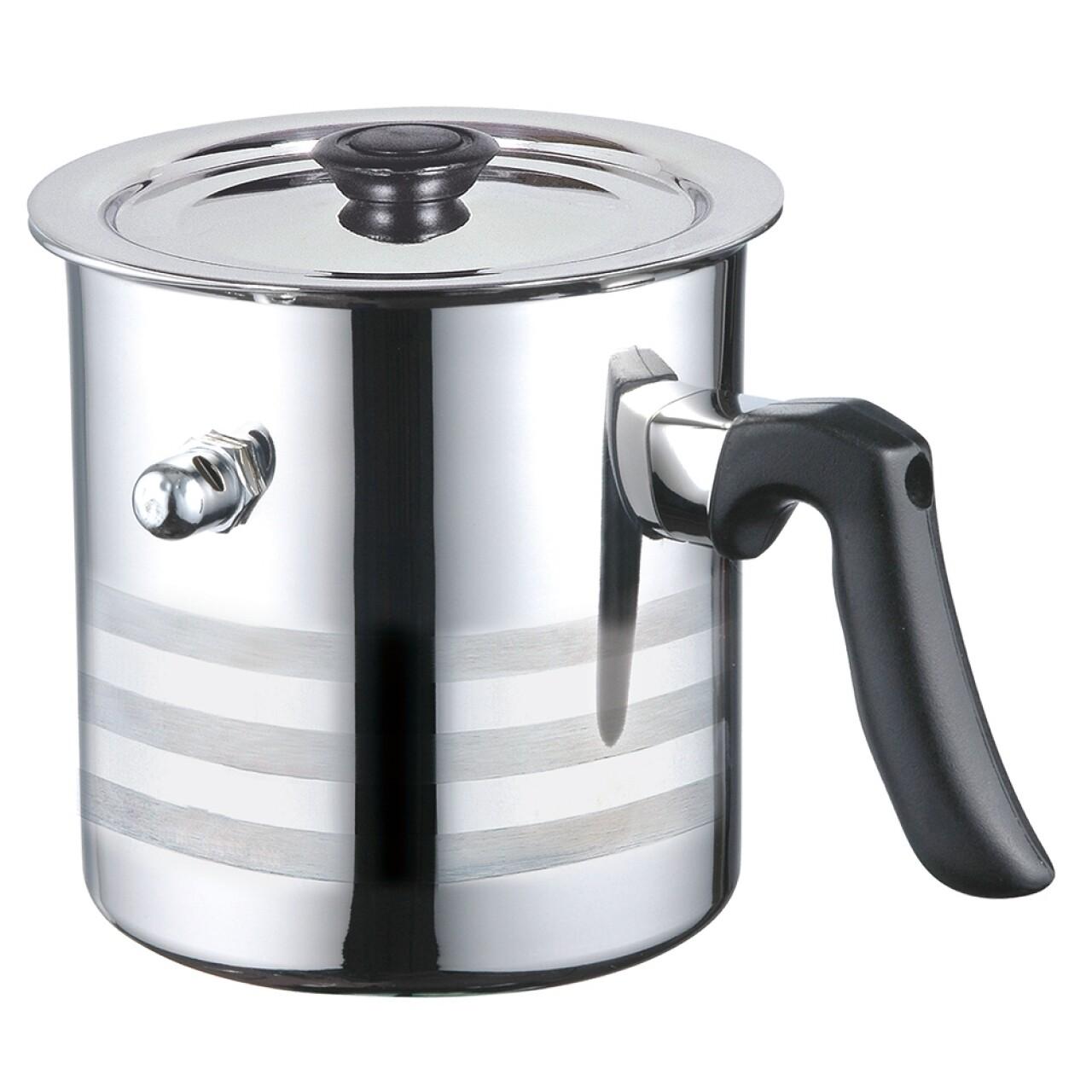 Oala pentru fiert lapte cu capac si avertizare sonoră, Blaumann, 2.5 l, inox, argintiu