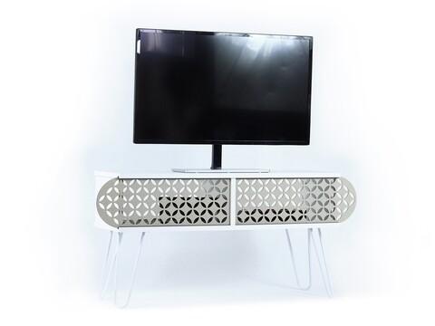 Comoda TV Mingitav Illia No.1, 106 x 30 x 48 cm, PAL/metal, alb