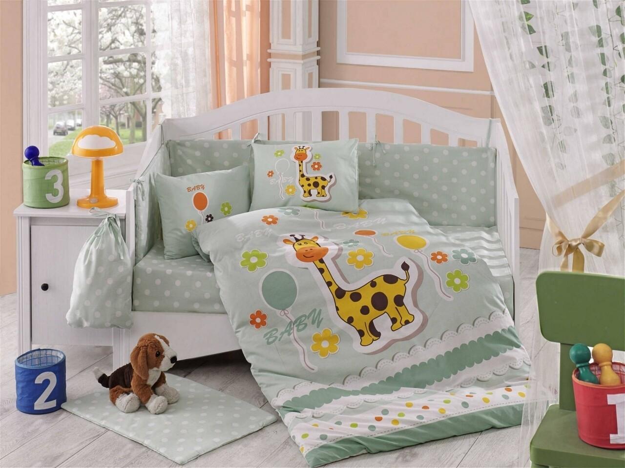 Lenjerie de pat pentru copii, 4 piese, 100% bumbac poplin, Hobby, Puffy, verde