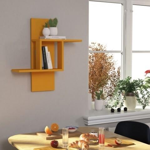 Raft pentru perete, Homitis, Mill - Mustard, 20x64x70 cm