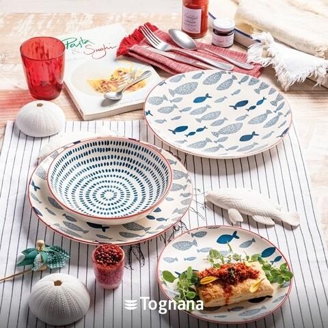 Serviciu de masa 18 piese, Tognana, Metropolis Tirreno, ceramica glazurata, multicolor