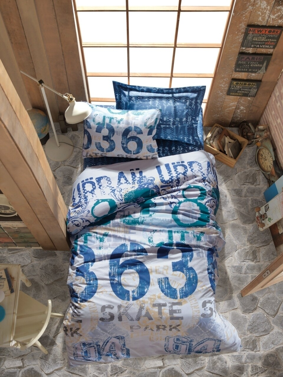 Lenjerie de pat pentru o persoana, 3 piese, 100% bumbac ranforce, Cotton Box, Urban