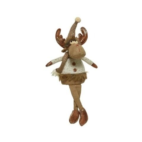 Decoratiune Deer w dangling legs, Decoris, 10x11x29 cm, poliester, multicolor