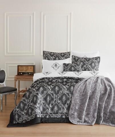 Set de pat Carlota - Black, Cotton Box, 12 piese, poliester, negru