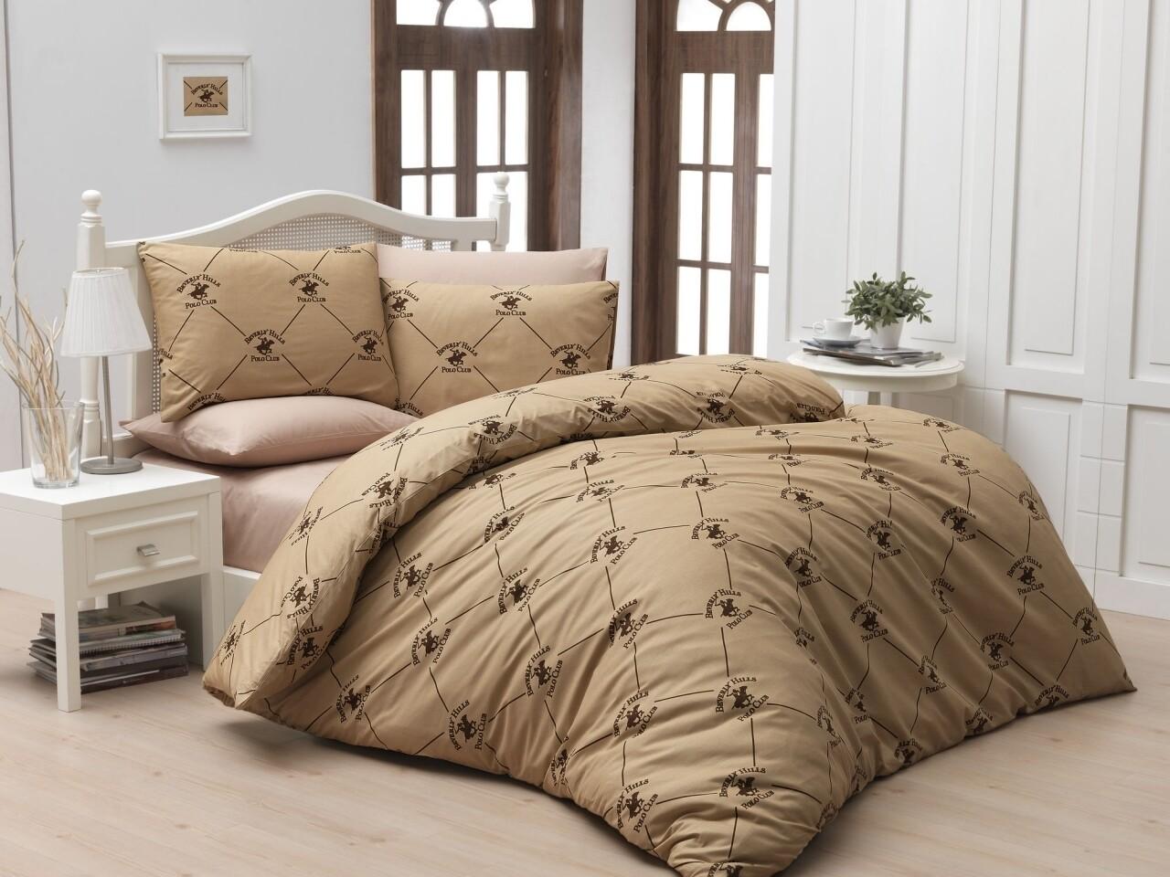 Lenjerie de pat pentru o persoana, Creamy, Beverly Hills Polo Club, 3 piese, 160 x 240 cm, 100% bumbac ranforce, crem/maro