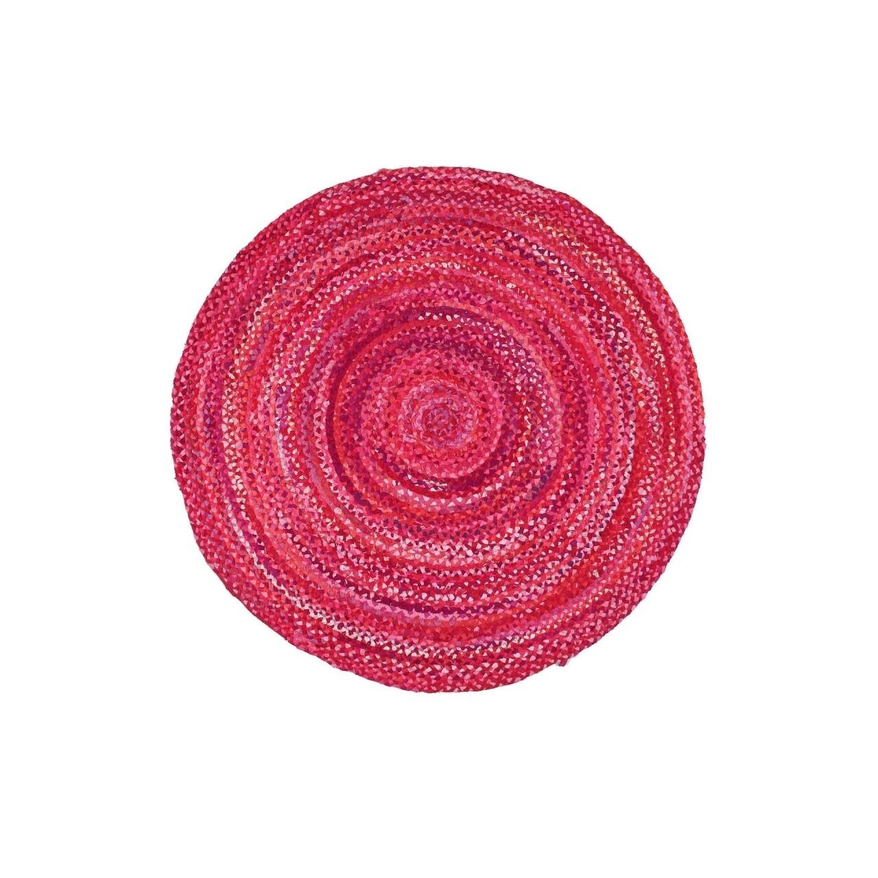 Covor lucrat manual Eko, MX 08 - Pink Q, 100% bumbac,  150 cm Ø