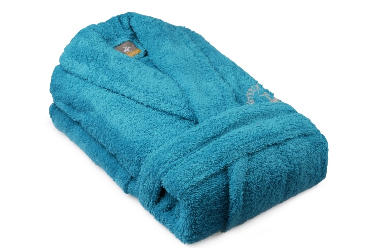 Halat de baie unisex, Beverly Hills Polo Club, 100% bumbac, XS/S, Turquoise