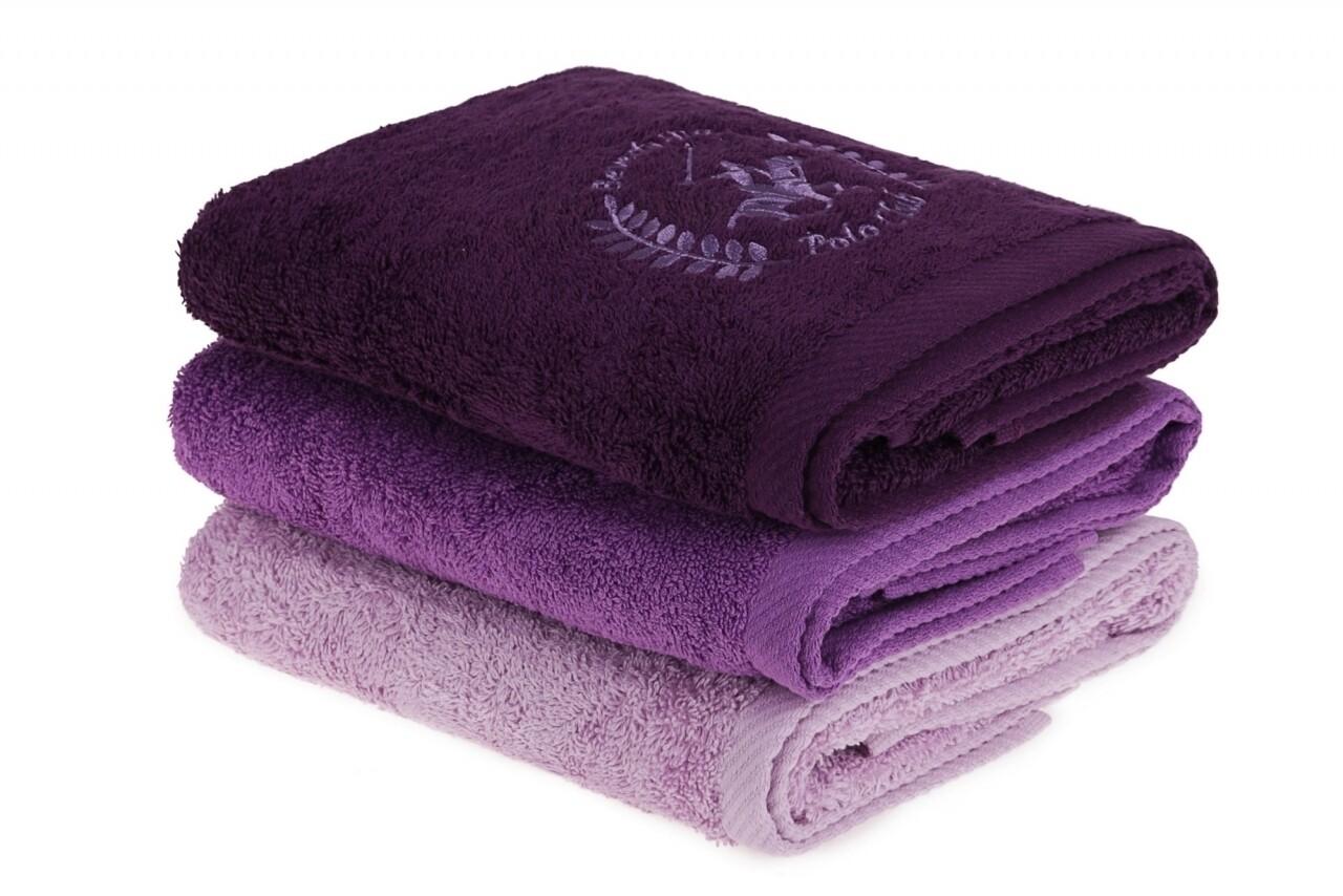Set 3 prosoape de maini Beverly Hills Polo Club, 50x90 cm, 100% bumbac, Lilac/Purple/Dark Purple