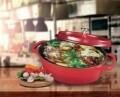 Cratita ovala cu capac Home Chef, Heinner Home, 3.5 l, aluminiu turnat, negru/rosu