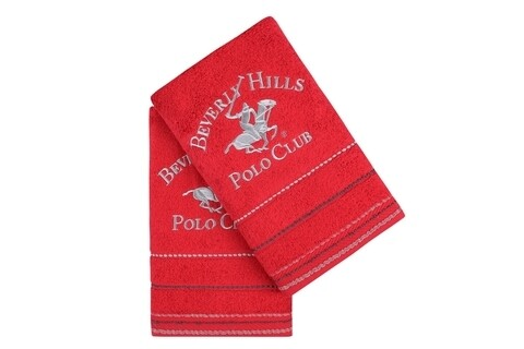 Set 2 prosoape de maini, Beverly Hills Polo Club, Red, 50 x 100 cm, 100% bumbac