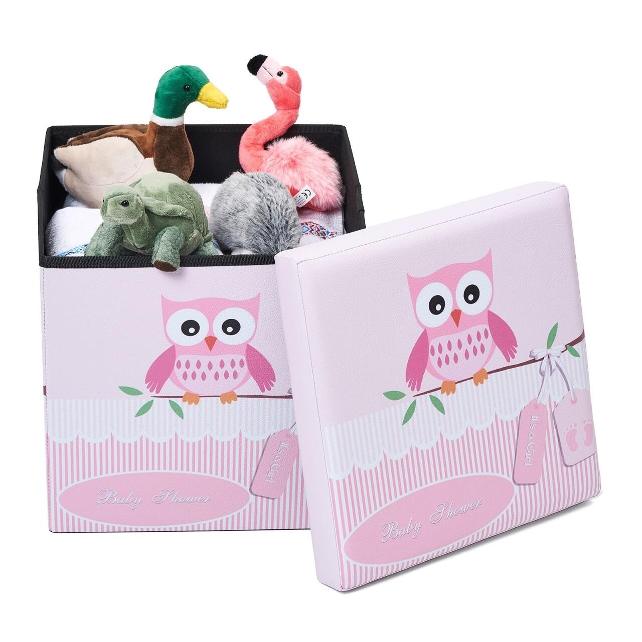 Taburet pliabil cu spatiu de depozitare Pink Owl, Heinner Home, 37.5 x 38 x 38 cm, PVC, multicolor