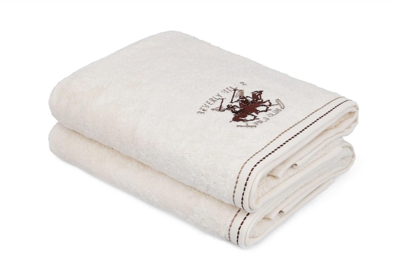 Set 2 prosoape de baie, Beverly Hills Polo Club, 70x140 cm, 100% bumbac, alb