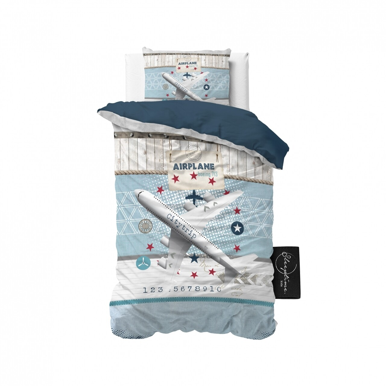 Lenjerie de pat pentru o persoana, Airplane 713 Blue, Royal Textile, 2 piese, 140 x 200 cm, 100% bumbac, multicolora