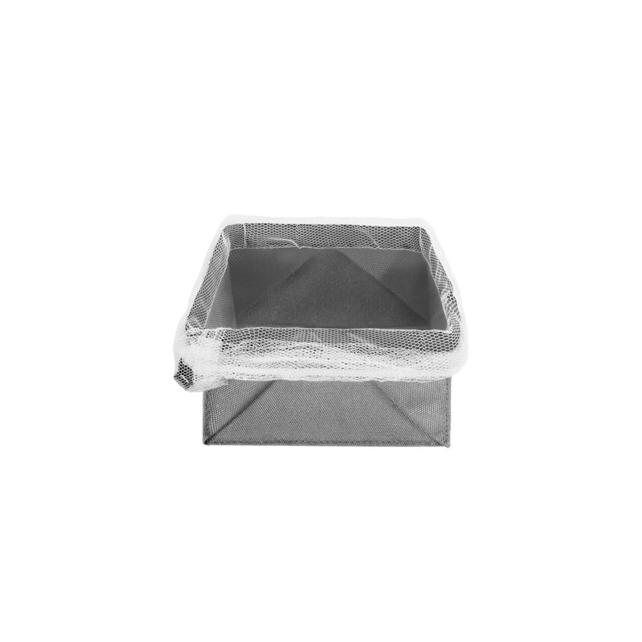 Cutie pliabila pentru depozitare Metaltex, 12 x 12 cm, poliester/poliamida, gri