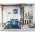 Lenjerie de pat dubla Luna Blue, Royal Textile, 3 piese, 200 x 220 cm, 100% bumbac, albastra
