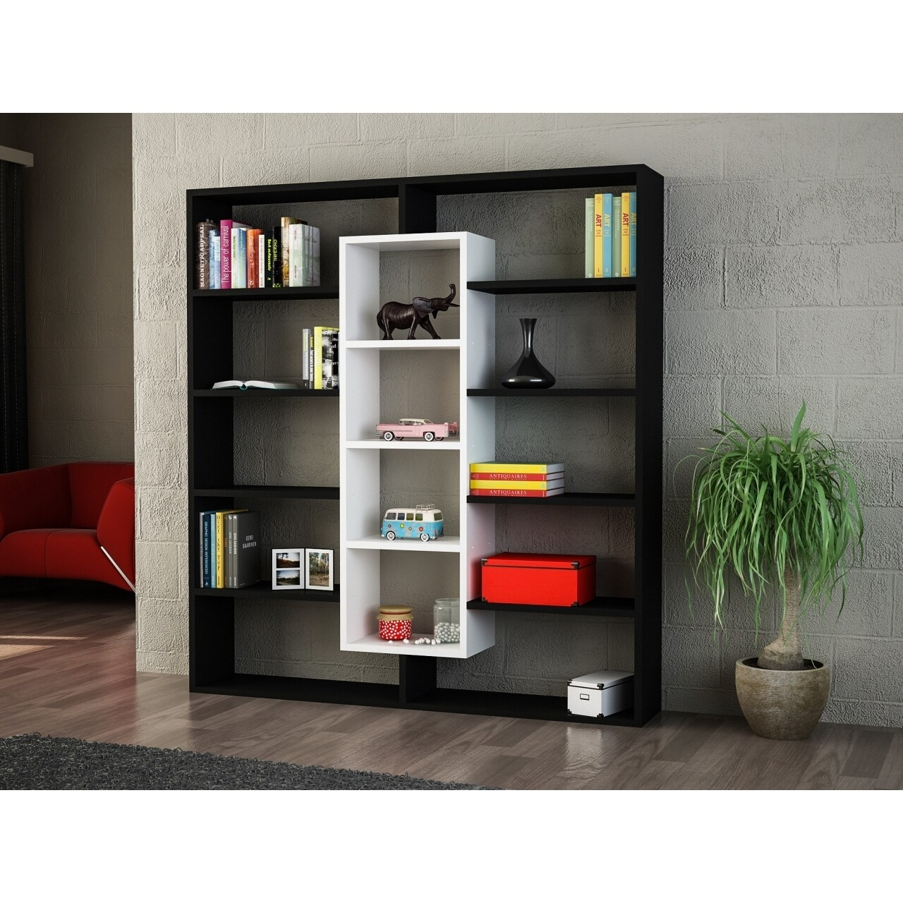 Biblioteca Wooden Art, Ample Black White, 125x135.7x22 cm