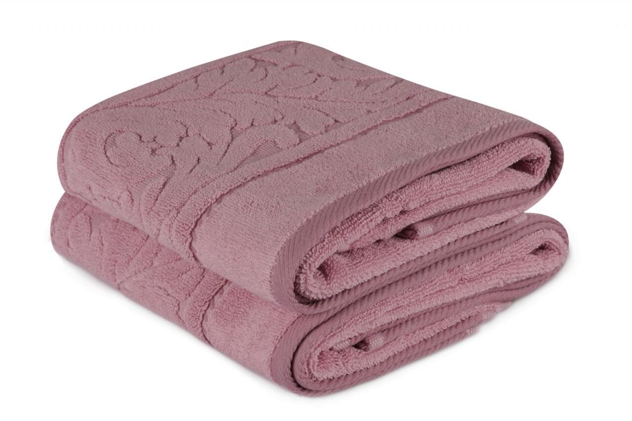 Set 2 prosoape de maini 50x90 cm, 100% bumbac, Hobby, Sultan, roz