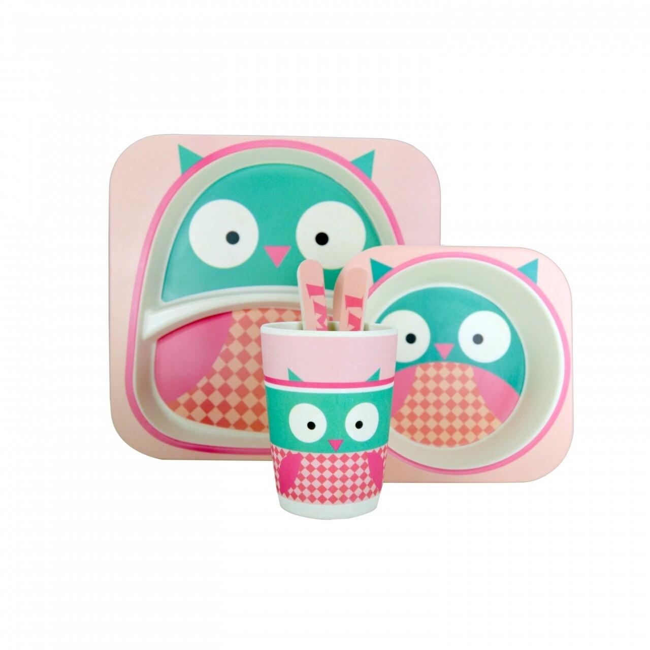 Set de masa pentru copii Owl, Jocca, 10 x 23 x 25.5 cm, 100% bambus, multicolor