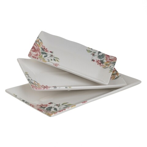 Set 3 platouri InArt Floral, 27 cm/22 cm/19 cm, ceramica