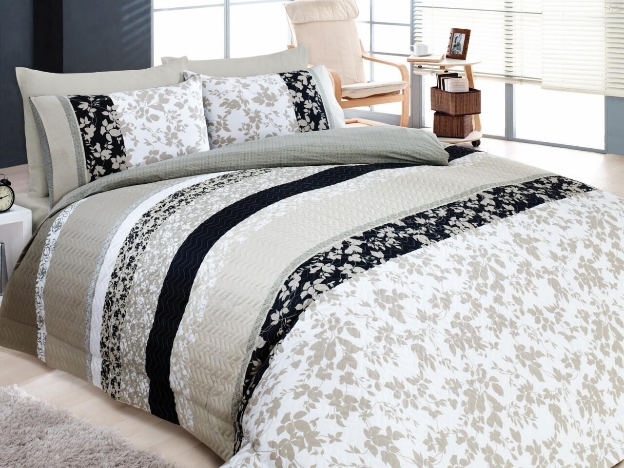 Lenjerie de pat matlasata pentru 2 persoane, 4 piese, 100% bumbac ranforce, Cotton Box, Deborah