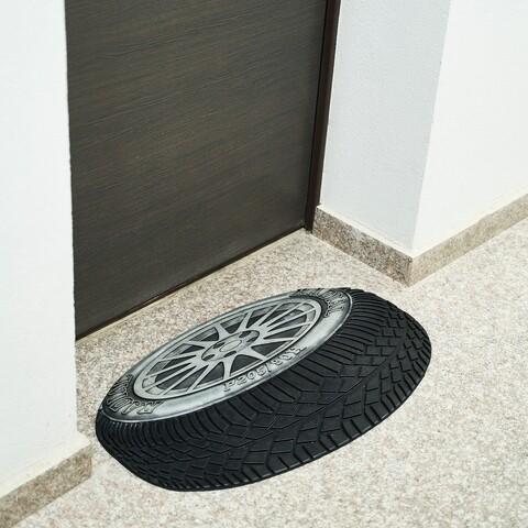 Covoras de intrare Wheel, Heinner, 40x60 cm, cauciuc, argintiu