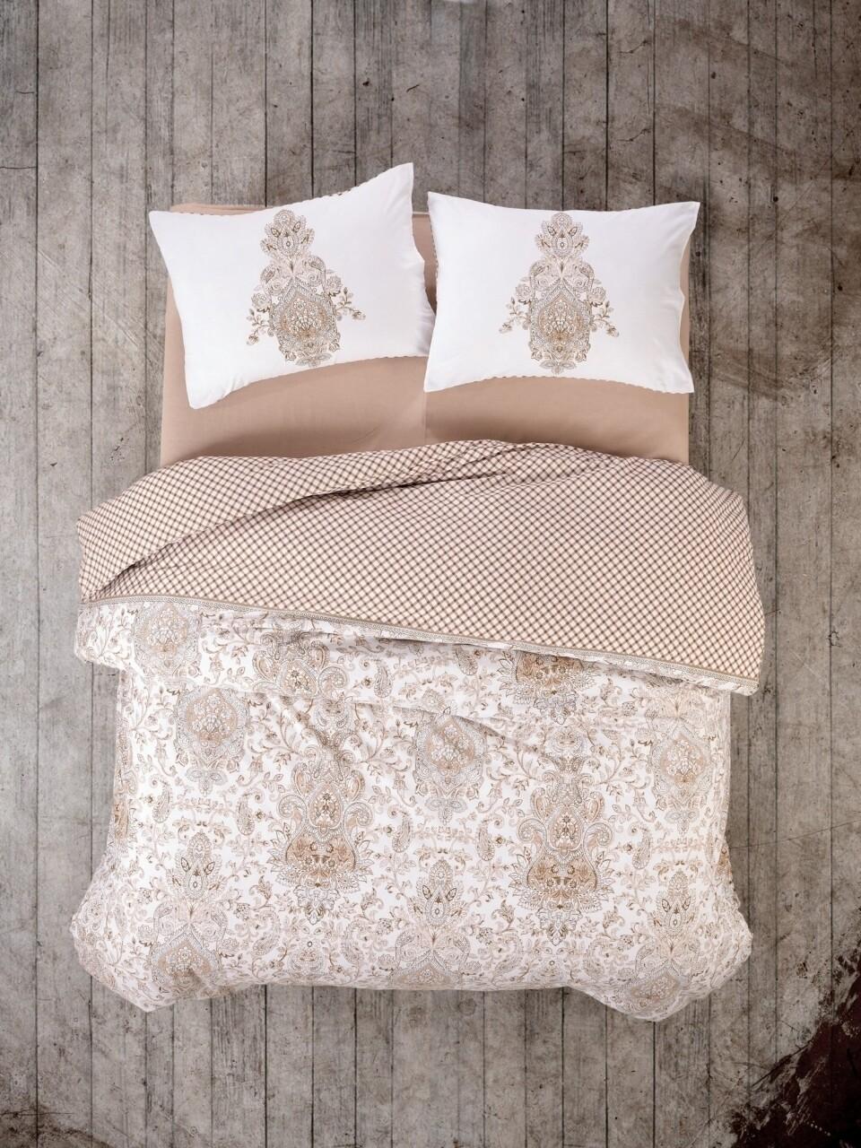 Lenjerie de pat pentru o persoana, 3 piese, 100% bumbac ranforce, Cotton Box, Tamara