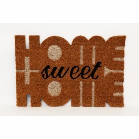 Covoras de intrare din fibra nuca de cocos, Home Sweet Home, 40x60 cm, maro/negru