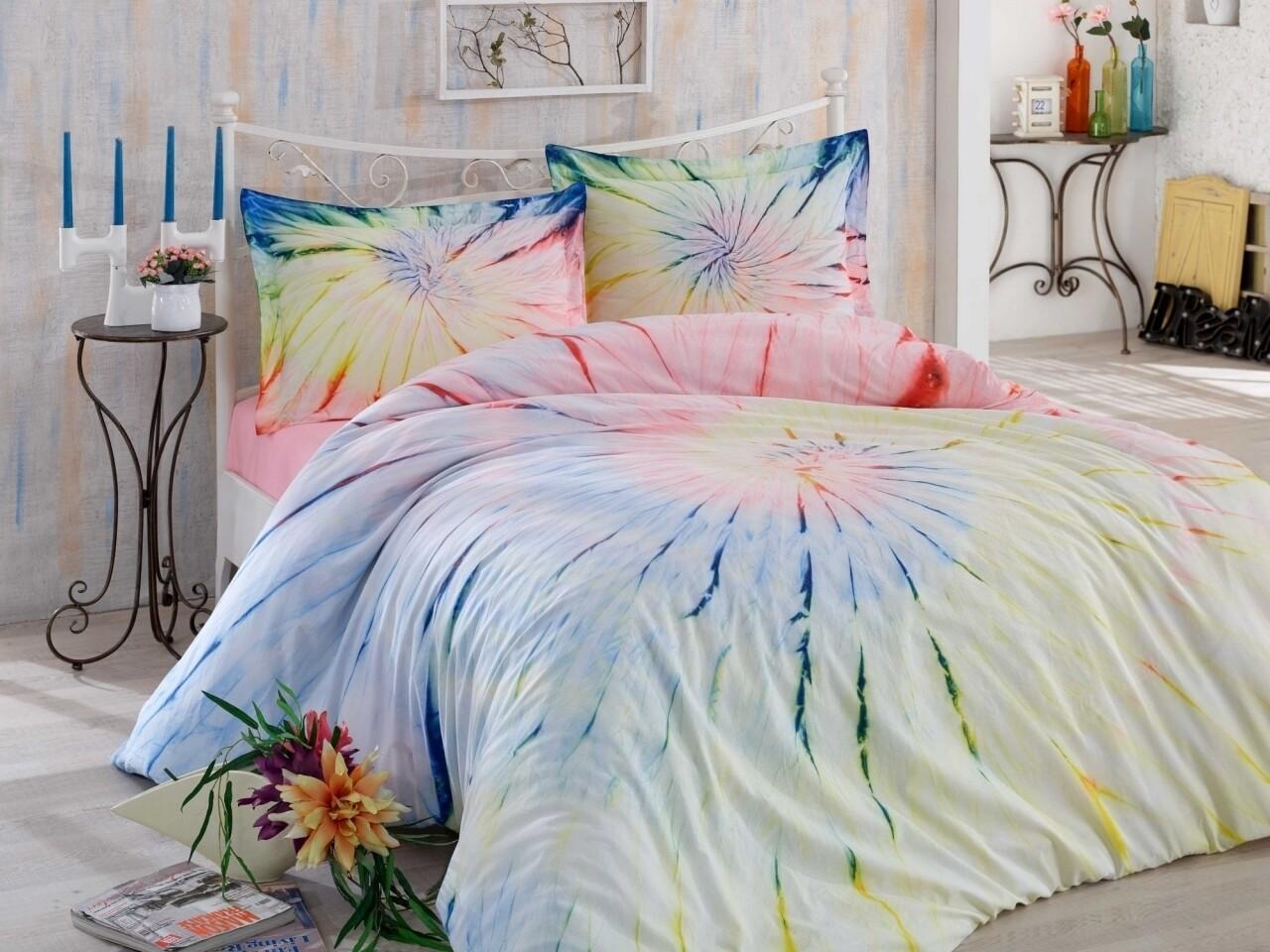 Lenjerie de pat pentru o persoana, 3 piese, 100% bumbac poplin, Hobby, Helezon Pink, multicolora