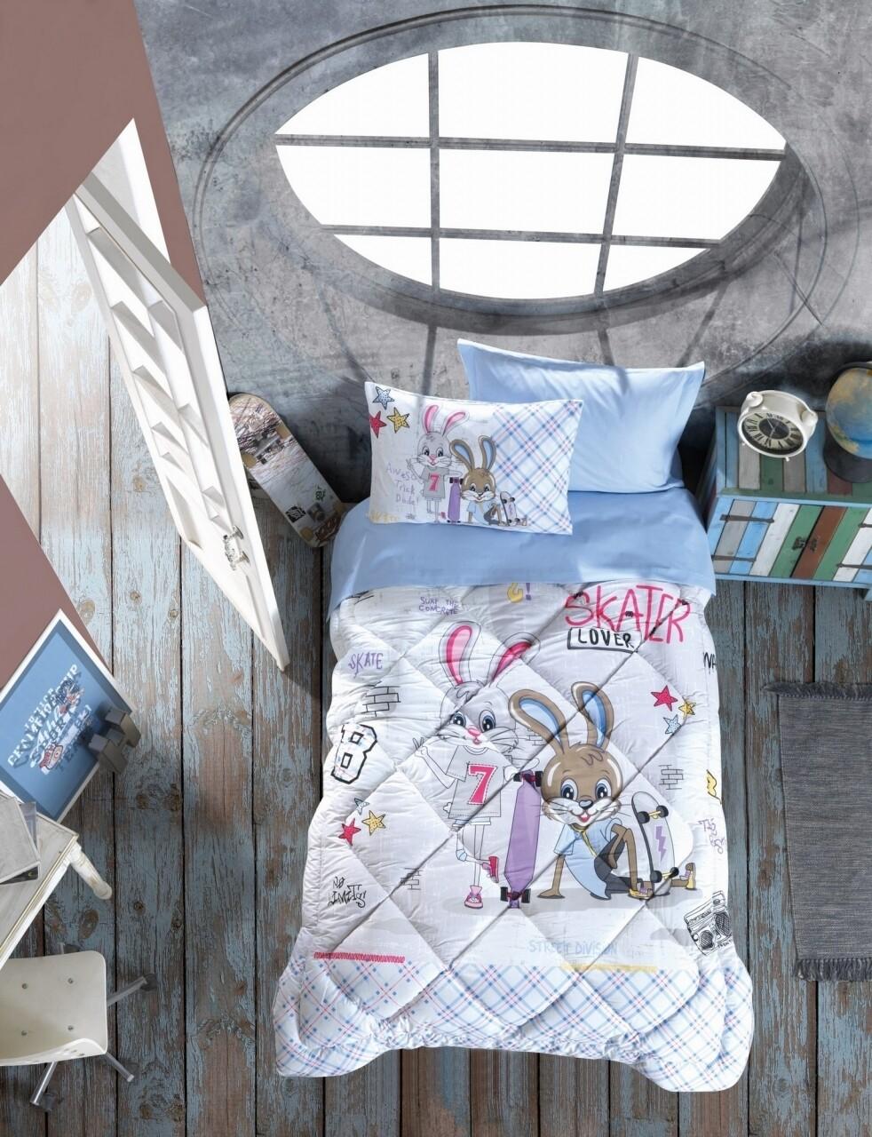 Set de pat pentru o persoana, 5 piese, 100% bumbac ranforce, Cotton Box, Skate Blue